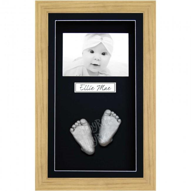 Baby Casting Kit, Large Oak Effect Frame, Black Display, Silver Casts