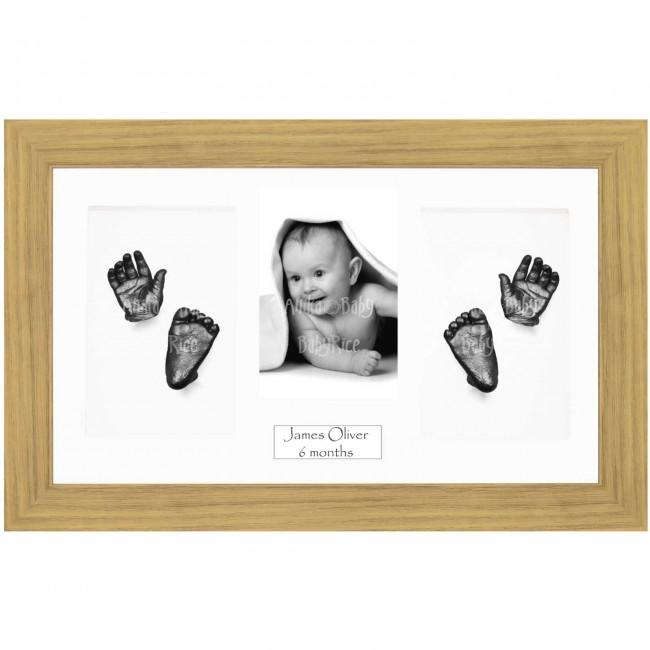 Baby Casting Kit, Large Oak Effect Frame, White Display, Pewter Paint