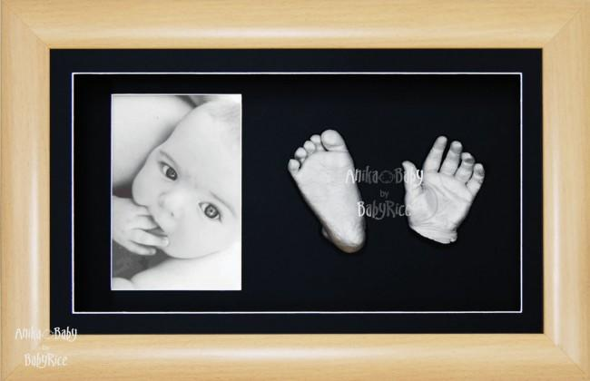 3D Baby Hand Foot Cast Kit, Beech effect Frame, Silver Castings