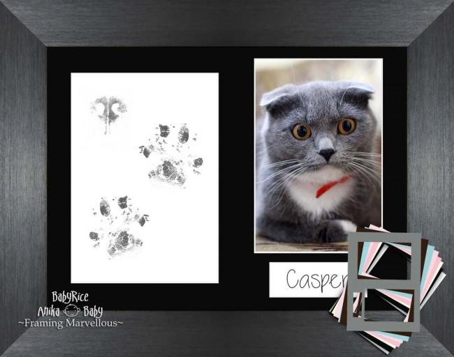 Cat Pet Paw Print Pawprints Kit Brushed Pewter Picture Frame Set Kitten Gift