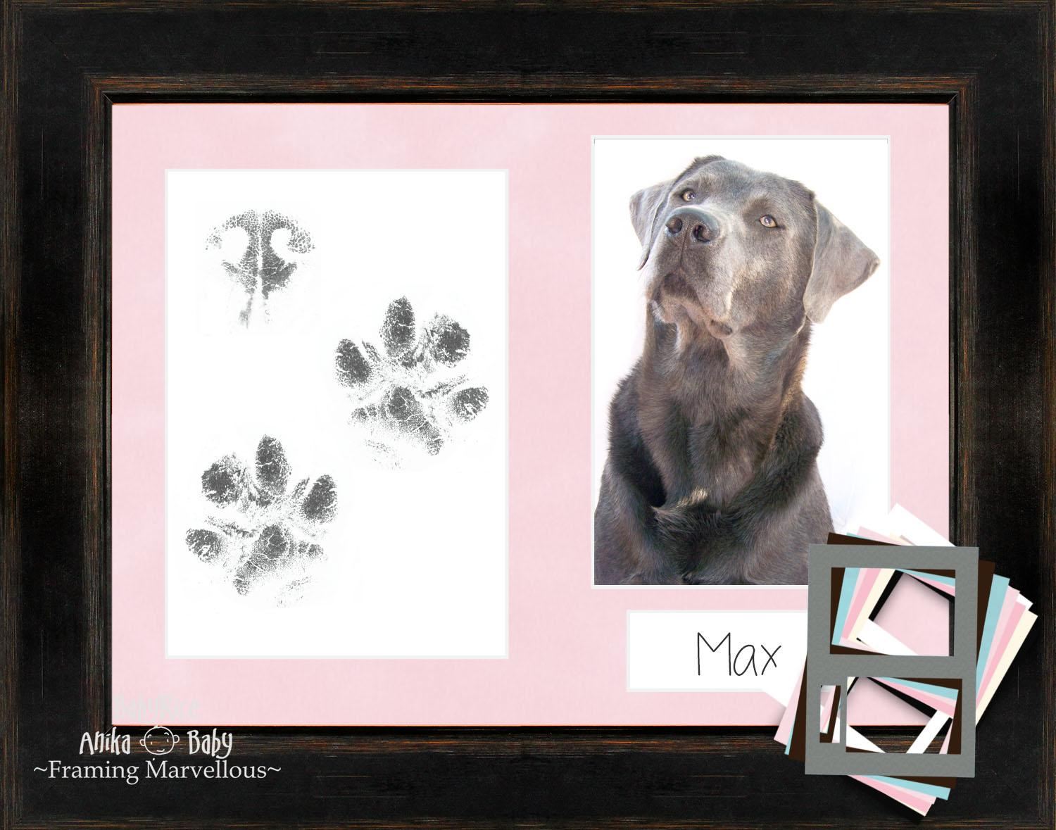 Puppy Pawprint Kit with Black Frame
