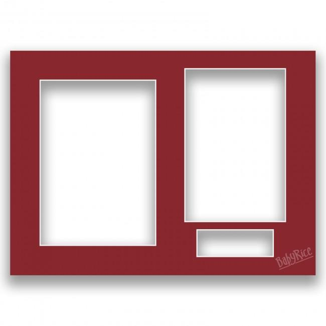 Three Aperture Picture Frame Mount & Backing Card 12x9 Inches  - Flame Red