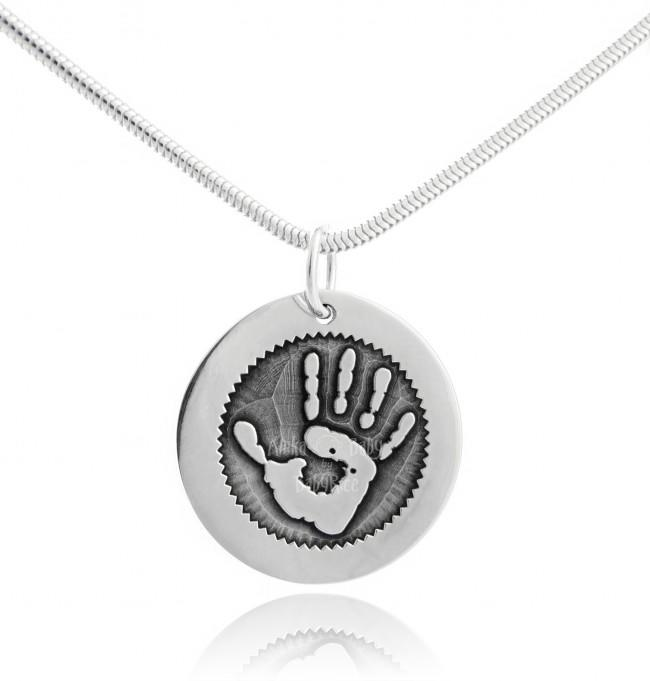 BabyRice Silver Hand Footprint Fingerprint Jewellery Personalised Circle Pendant Outtie