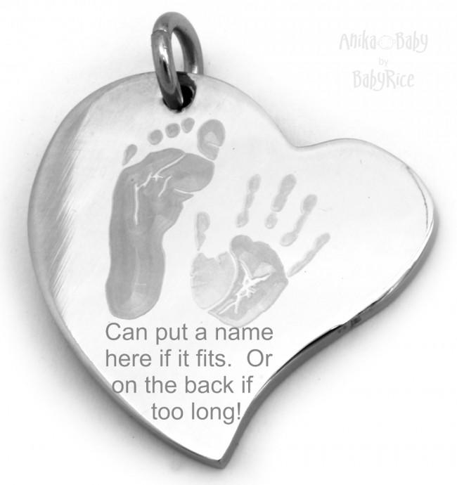 Stainless Steel Curved Heart Pendant Baby Handprint Footprint