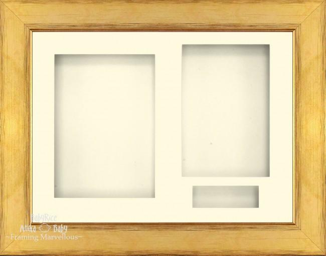 Gold 3D Shadow Box Picture Display Frame 3 Hole Mount