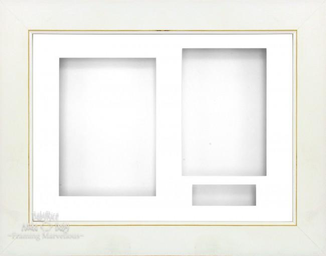 White Wash 3D Shadow Box Picture Display Frame 3 Hole Mount