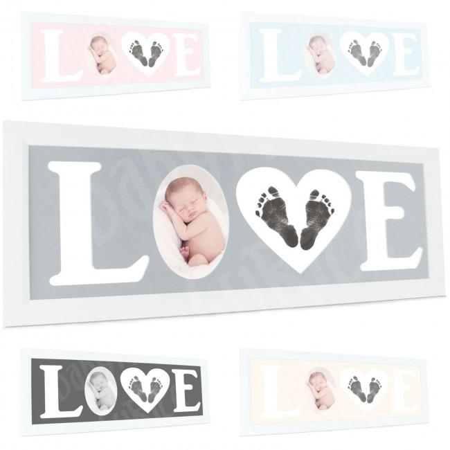 Baby Hand and Footprint Kit with Love Photo Picture Frame in White – Options, by BabyRice
