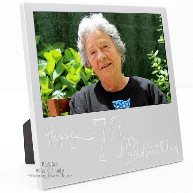 New Engraved Silver 70th Birthday Photo Frame