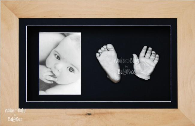 Baby Casting Kit Christening Gift, Beech Wooden Frame, Silver Paint