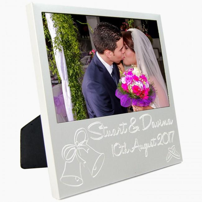 New Custom Personalised Silver Wedding Photo Frame