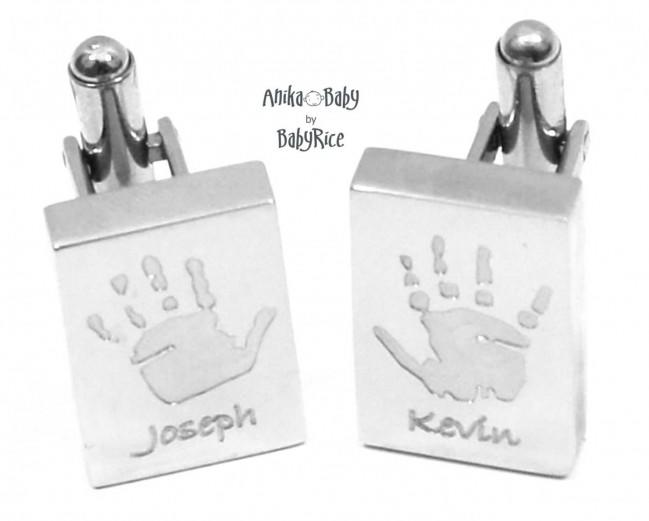 Personalised Men's Cufflinks Baby Handprint Footprint S/Steel