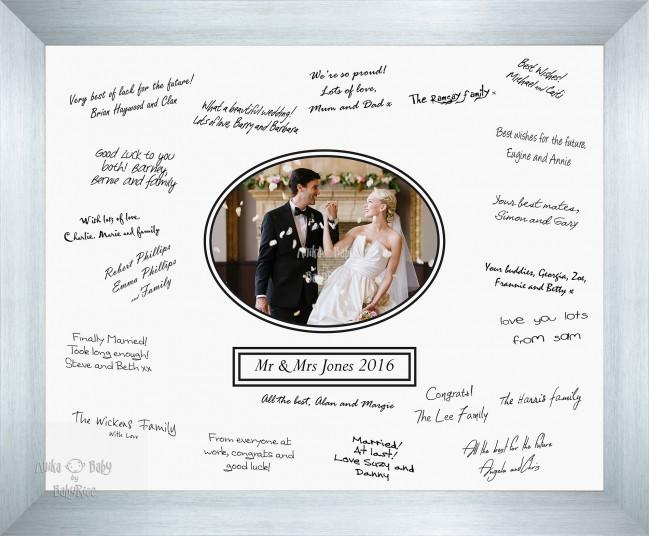 Large 50x40cm Wedding Guest Signing Signature Frame – Silver – Choose Layout and Colour