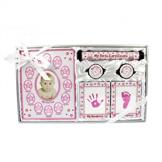 Silver Pink Baby Girl Keepsakes Gift Set