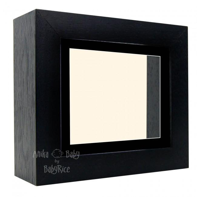 "Deluxe Black Deep Box Frame 6x5"" with Black Mount and Cream Backing"