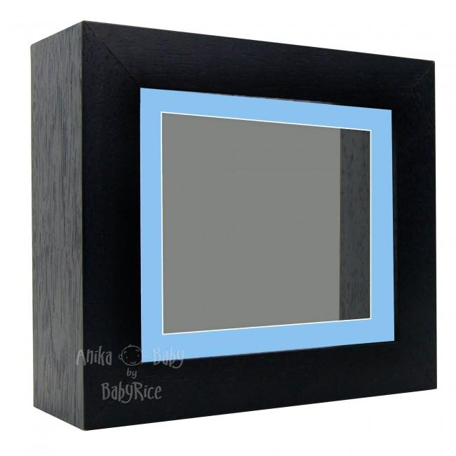 "Deluxe Black Deep Box Frame 6x5"" with Blue Mount and Grey Backing"