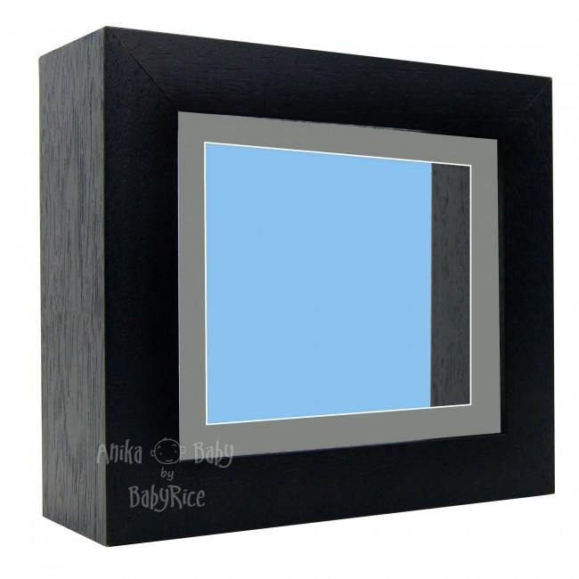 "Deluxe Black Deep Box Frame 6x5"" with Grey Mount and Blue Backing"