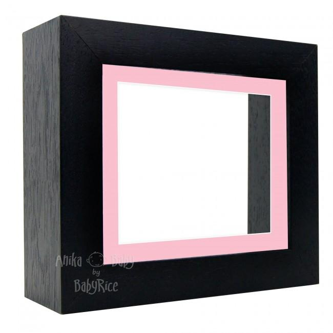 "Deluxe Black Deep Box Frame 6x5"" with Pink Mount and White Backing"