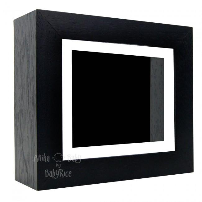 "Deluxe Black Deep Box Frame 6x5"" with White Mount and Black Backing"