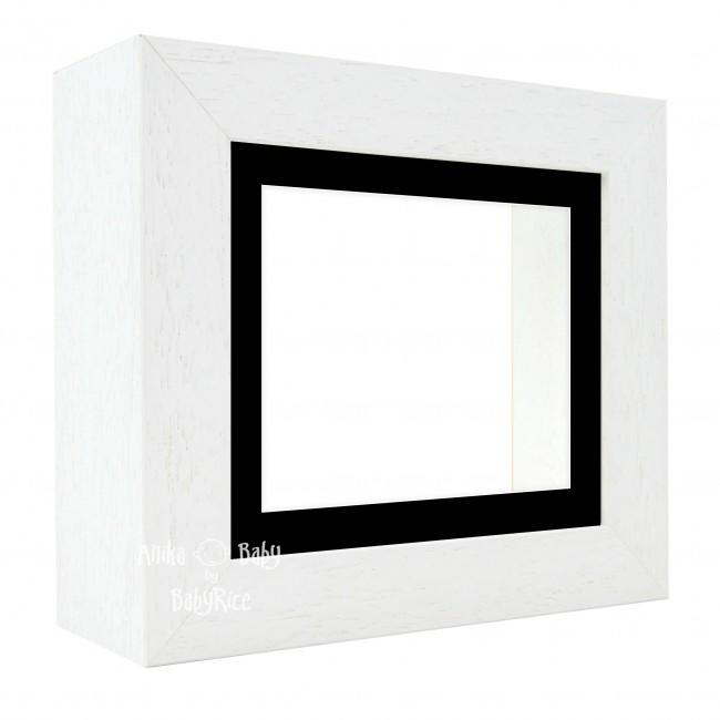 "Deluxe White Deep Box Frame 6x5"" with Black Mount and White Backing"