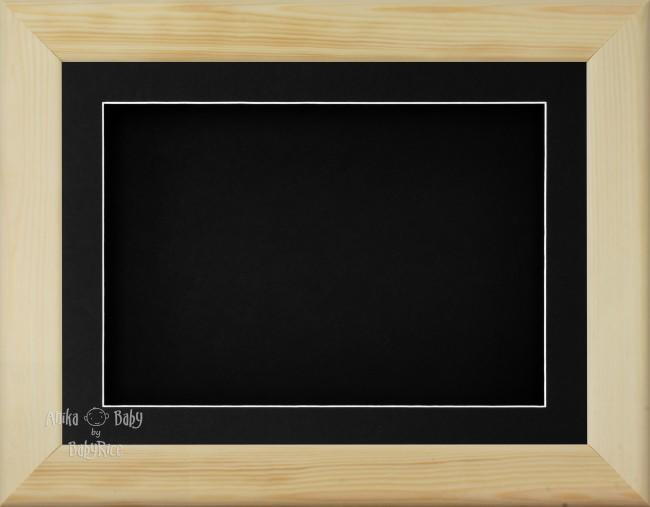 "11.5x8.5"" Natural Pine Wood 3D Display Frame 1 Hole Black Mount Black Back"