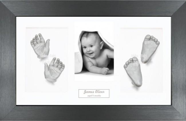 Twin Babies Large Baby Present, Silver Hand Foot Casts, Pewter Frame