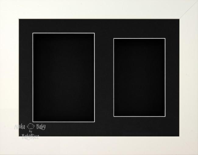 "11.5x8.5"" White 3D Display Frame 2 Hole Black Mount Black Back"