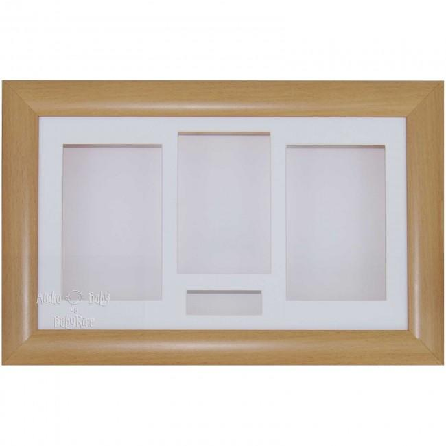 "15x9"" Beech Effect 3D Shadow Box Display Frame / White"