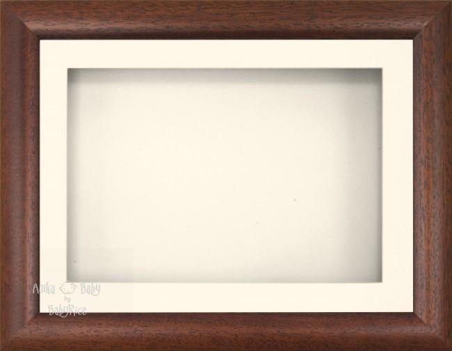 "11.5x8.5"" Dark Wood Effect 3D Display Frame 1 Hole Cream Mount Cream Back"
