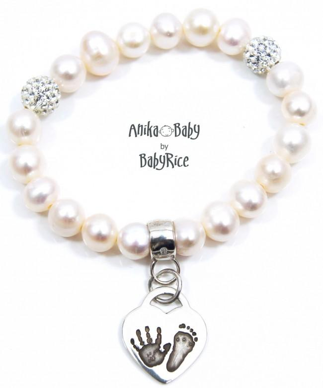 Solid Sterling Silver Heart Charm, Handprint & Footprint, Ivory White Freshwater Pearl Bracelet