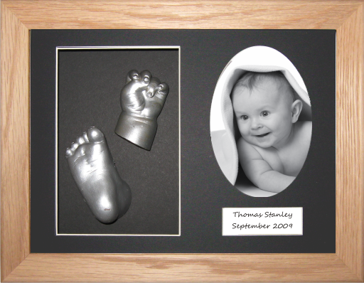 "Baby Casting Kit 11.5x8.5"" Solid Oak Frame / Silver"