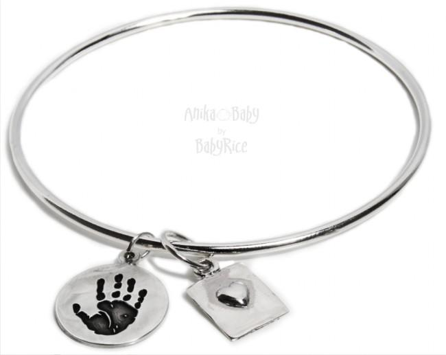 Sterling Silver Bangle Bracelet with Heart & Circle Charm