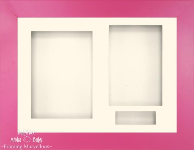 "11.5x8.5"" Pink Finish 3D Display Frame 3 Hole Cream Mount Cream Back"