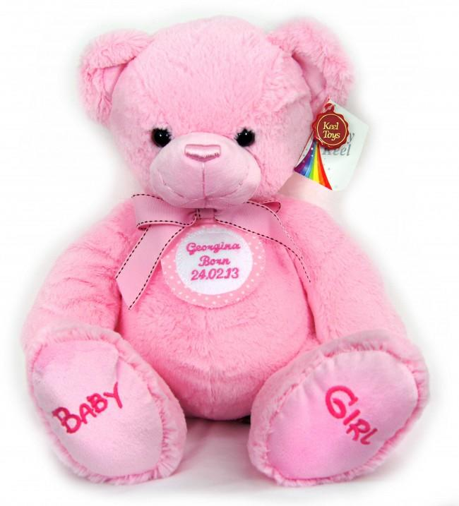 Personalised Pink Spotted Badge Pink Teddy Bear 35cm