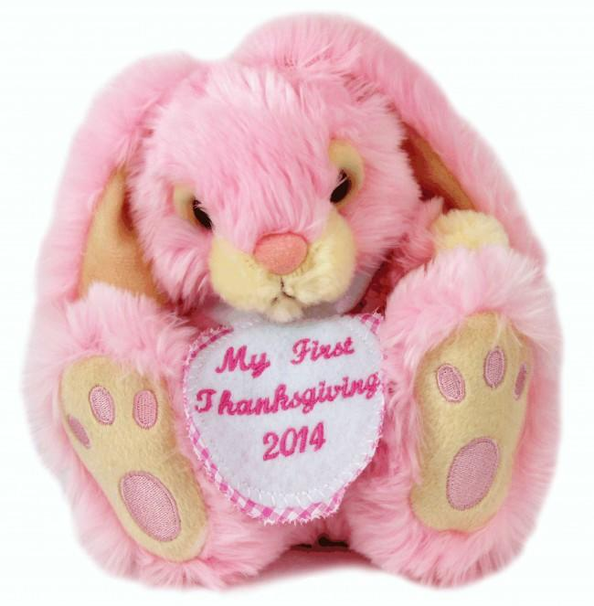 Personalised White Spot Badge Pink Rabbit Small 18cm