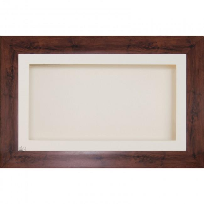 "15x9"" Wooden Shadow Box Deep Frame, Mahogany effect"