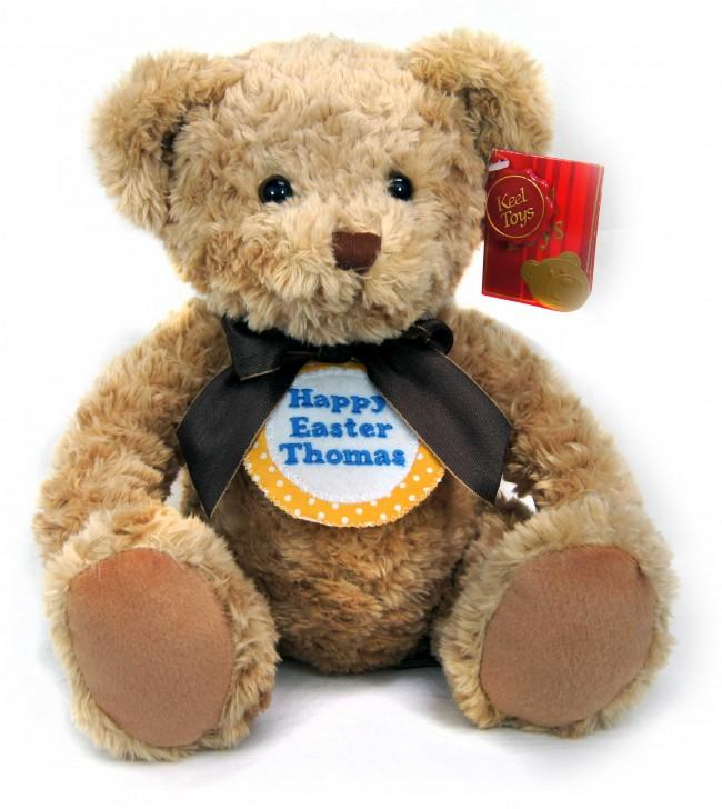 Personalised Yellow Spot Badge Brown Teddy Bear 28cm