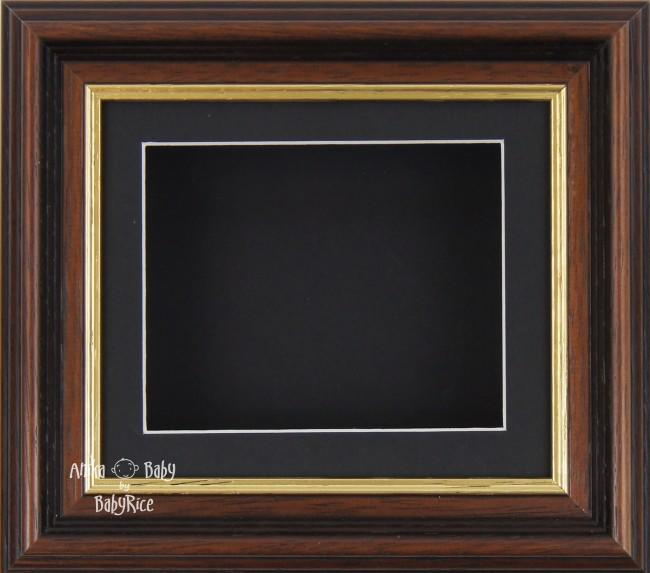 "6x5"" Mahogany/Gold Trim display frame / Black mount & Backing"