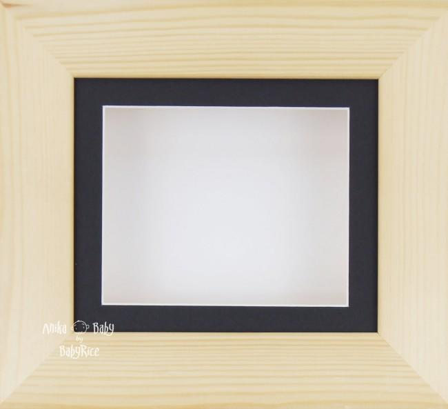 Natural Pine Small Display Frame / Black mount & White backing card