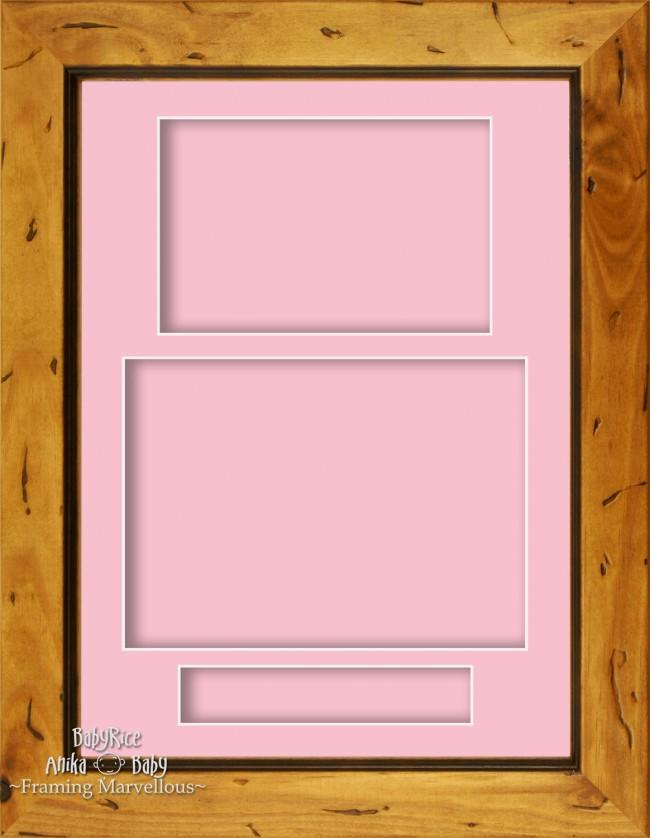 "11.5x8.5"" Rustic Pine Wooden 3D Display Box Frame Portrait Pink"
