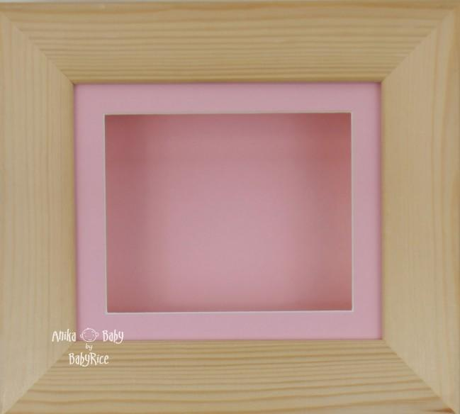 Natural Pine Small Display Frame / Pink mount & backing card