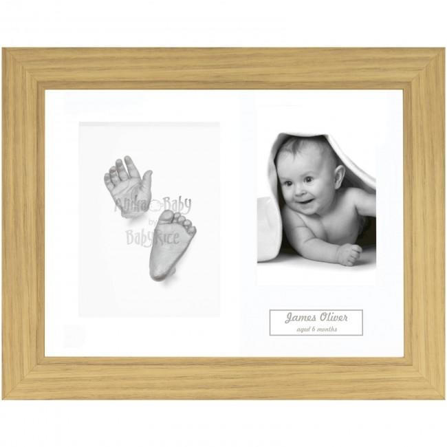 Baby Casting Kit, Oak effect Display Photo Frame, Silver Paint