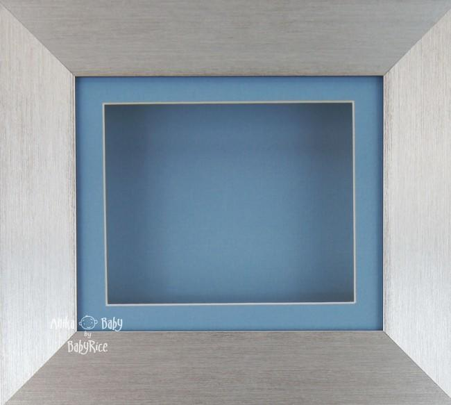 Brushed Silver Shadow Box Display Frame / Blue