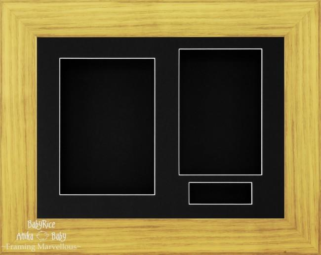 "11.5x8.5"" Oak Effect 3D Display Frame 3 Hole Black Mount and Back"