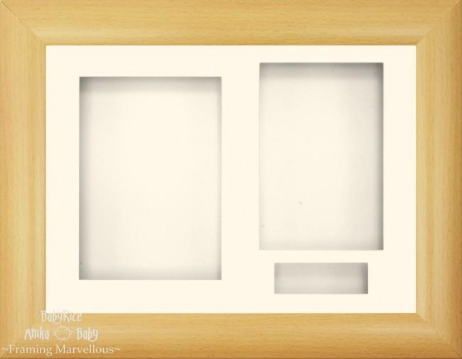 "11.5x8.5"" Beech Effect 3D Display Frame 3 Hole Cream Mount"