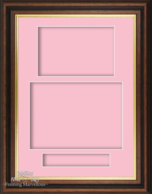 Dark Brown Mahogany Box Display Frame Pink