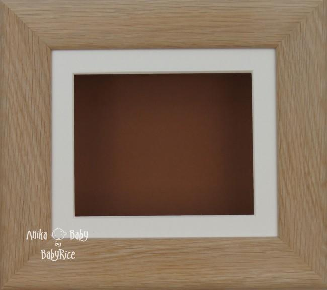 Solid Oak Wooden Shadow Box Display Frame, Cream, Brown