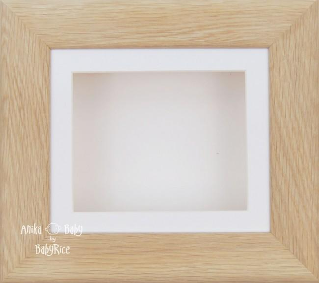 Solid Oak Wooden 3D Shadow Box Display Frame / White mount