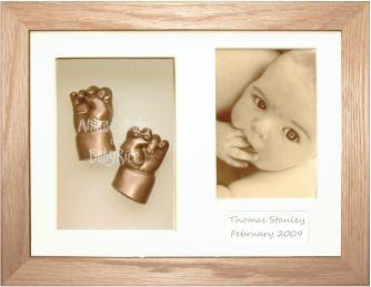 Newborn Baby Casting Kit, Solid Oak Frame, Gold Hand Foot Casts