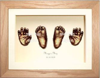 Large Big Baby 3D Casting Kit, Solid Oak Frame, Bronze Casts