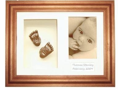 New Baby Gift Casting Kit / Honey Pine Frame / Bronze paint